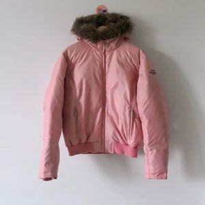 Polo by Ralph Lauren Pink Fur Down Puffer Jacket L